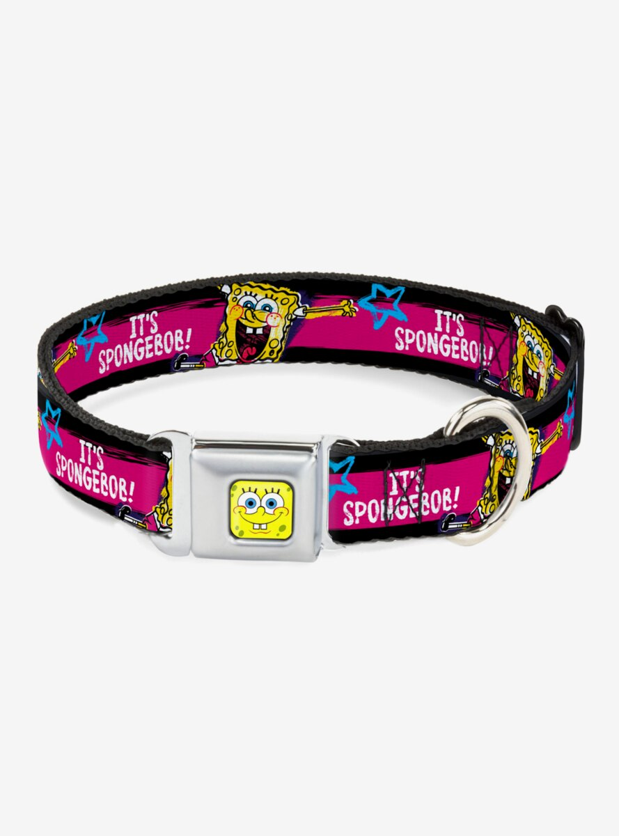 Spongebob Squarepants Pose It's Spongebob Pink Dog Collar Seatbelt Buckle
