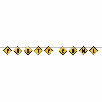 Construction Party Zone Block Decor Banner, 9ft For Birthday Party