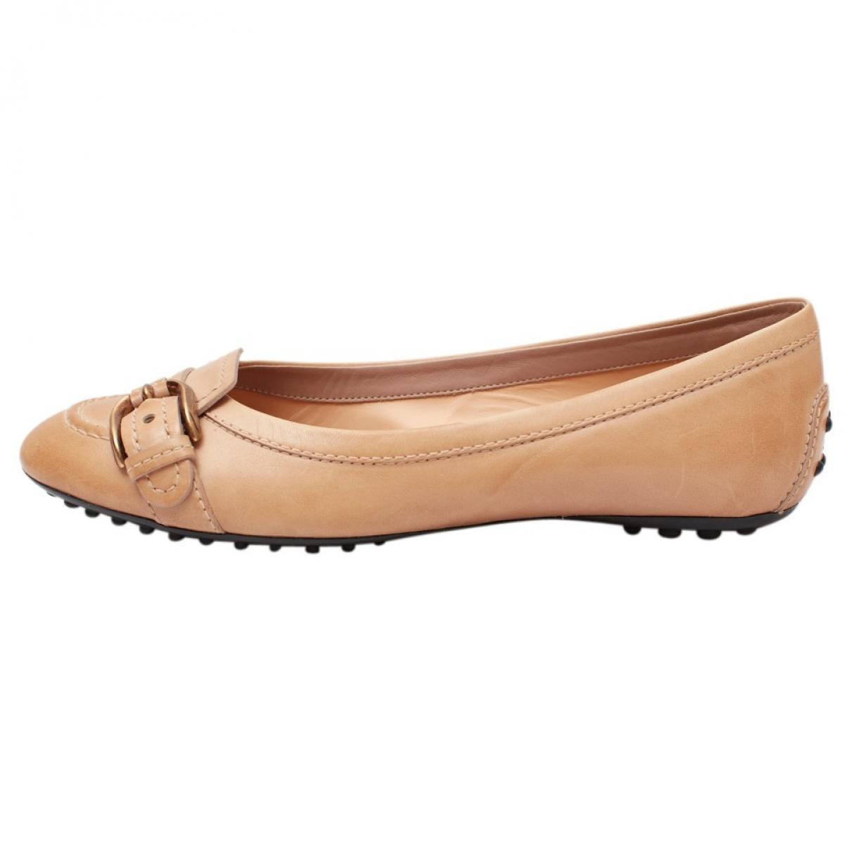 Tods - Ballerines   pour femme en cuir - beige
