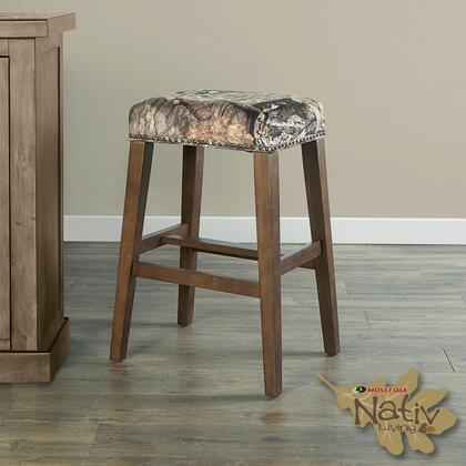 BS220MOSS01U Bar Height Stool withBackless Design Traditional Style  Solid Wood Frame and Polyester Upholstery in