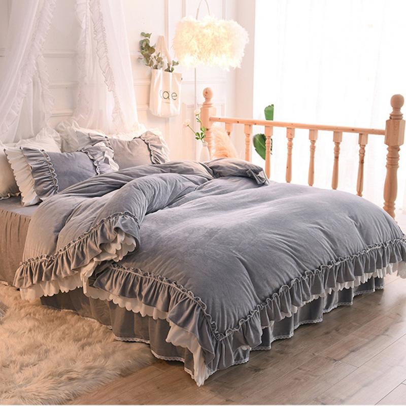 Grey Pink Velvet Princess Style Falbala Bed Skirt Flannel 4-Piece Bedding Sets/Duvet Cover