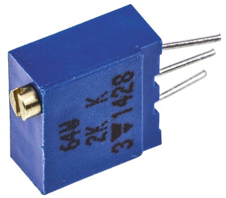 Vishay 64W Series 19 (Electrical), 22 (Mechanical)-Turn Through Hole Trimmer Resistor with Pin Terminations, 2kΩ ±10%