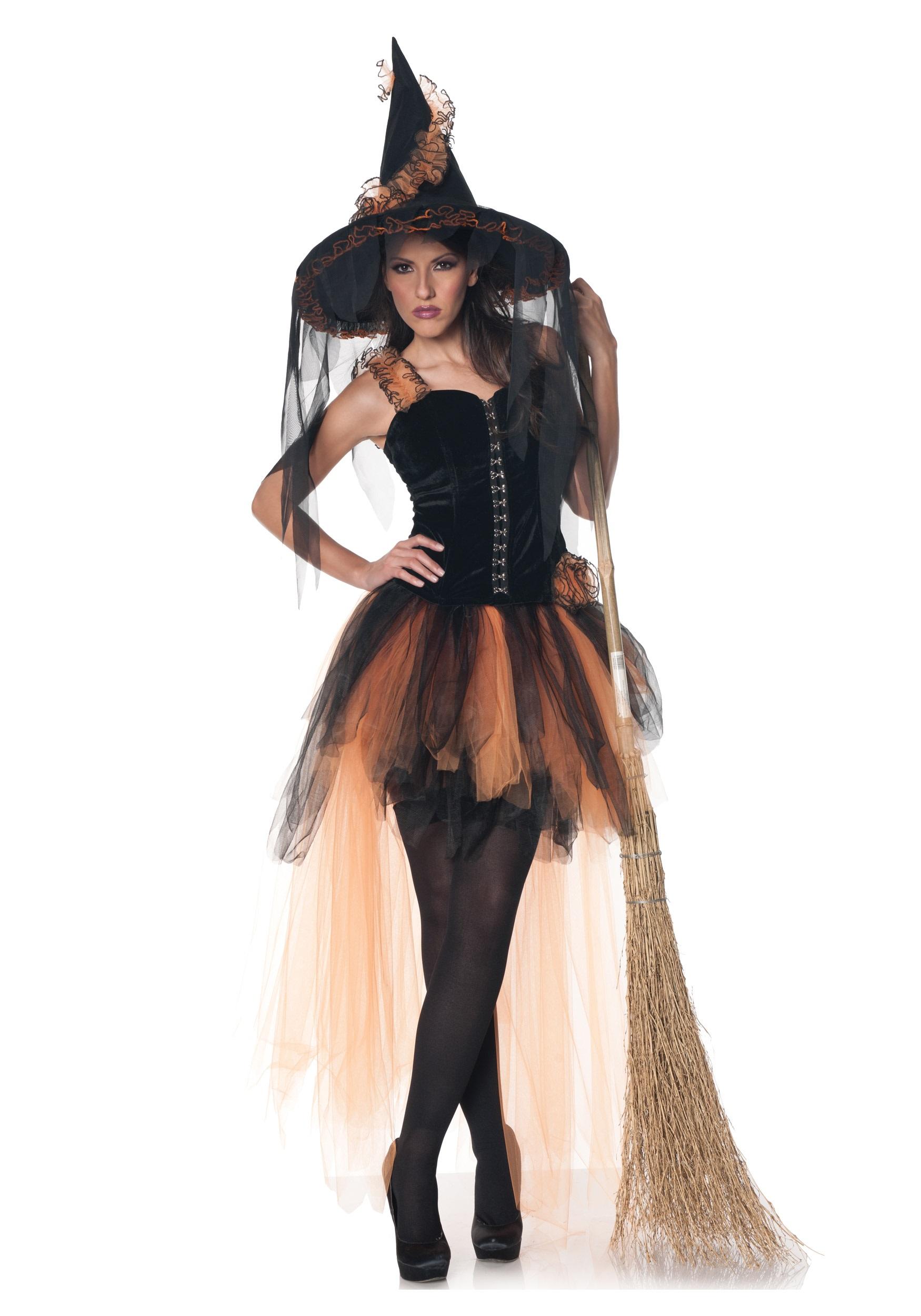 Hallows Eve Womens Orange & Black Witch Costume