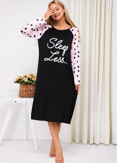 Lounge Shirts Letter Print Contrast Long Sleeve Nightdress - XL