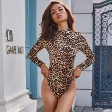 Eilly Bazar Body mit Stehkragen und Leopard Muster