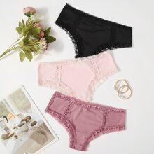 3pack Lace Trim Panty Set