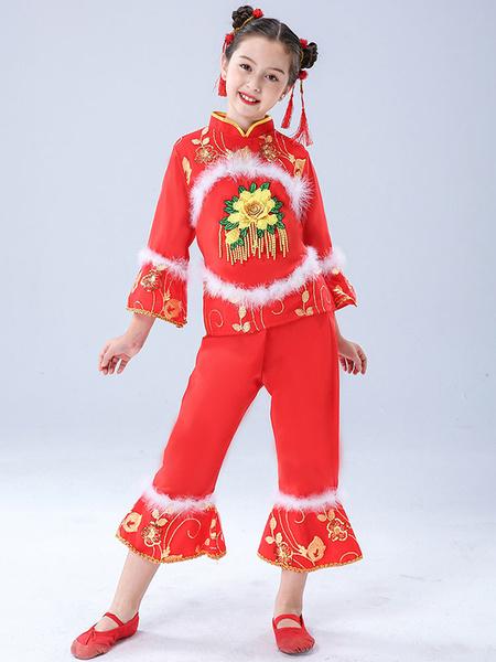 Milanoo Disfraz Halloween Trajes chinos para niños Trajes de baile de flores rojas Top con traje de pantalones Carnaval Halloween
