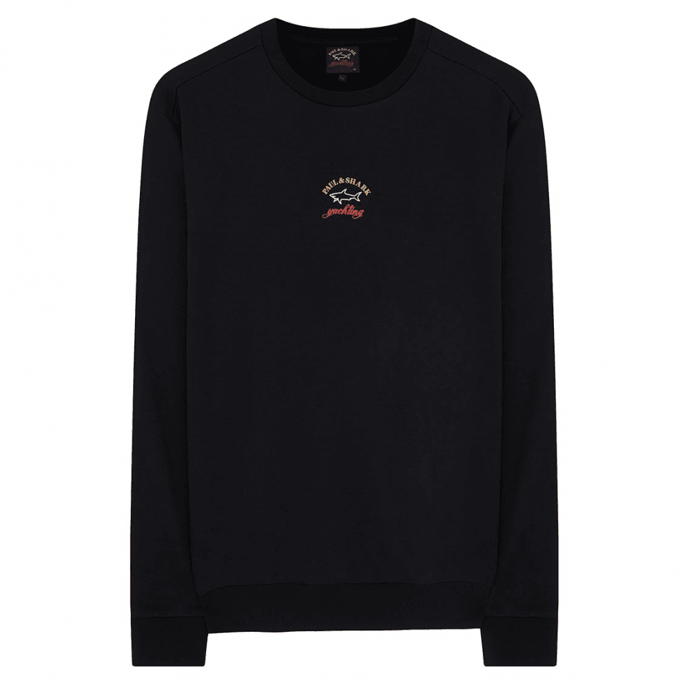 Paul & Shark Kids Badge Logo Sweatshirt Colour: BLACK, Size: 14 YEARS