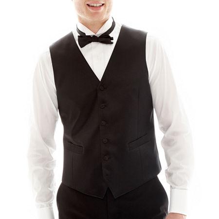 JF J. Ferrar Slim Fit Tuxedo Vest, Medium , Black