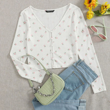 Buttoned Front Floral Print Top