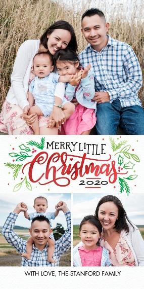Christmas Photo Cards 4x8 Flat Card Set, 85lb, Card & Stationery -Christmas 2020 Sparkling Foliage by Tumbalina
