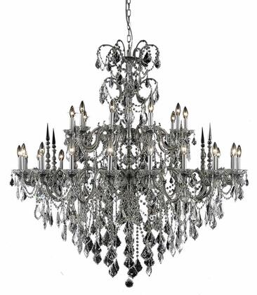 9730G53PW/SS 9730 Athena Collection Hanging Fixture D53in H54in Lt: 20+10 Pewter Finish (Swarovski Spectra