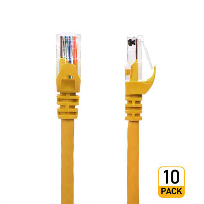 1FT Cat6 550MHz UTP 24AWG RJ45 Ethernet Network Cable - Yellow - PrimeCables® - 10/Pack