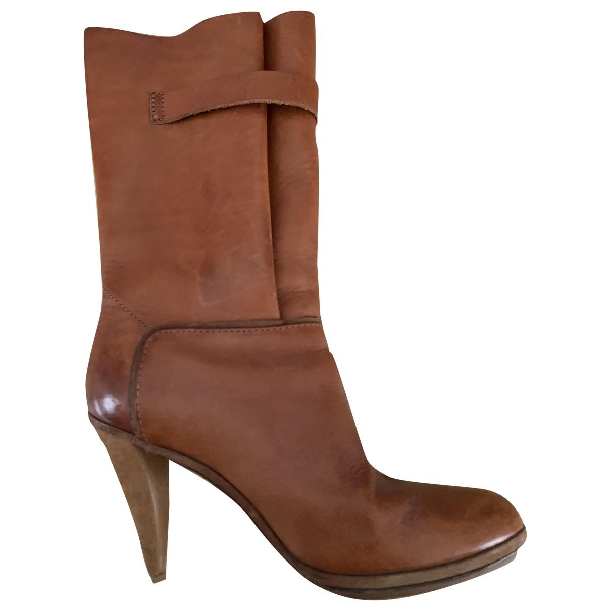 Balenciaga - Bottes   pour femme en cuir - camel