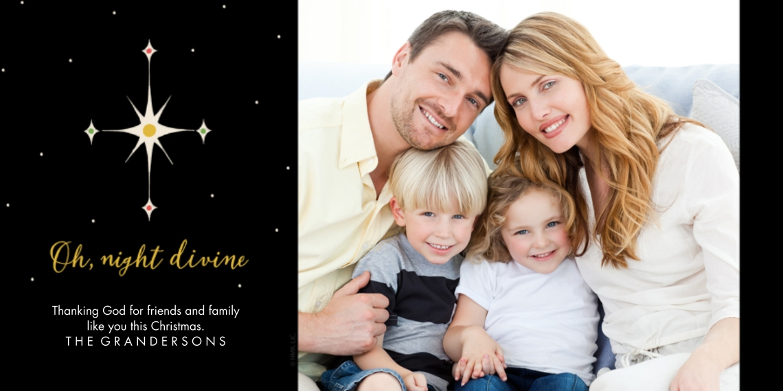 Christmas Photo Cards 4x8 Flat Card Set, 85lb, Card & Stationery -Oh, Night Divine Star Greeting by Hallmark