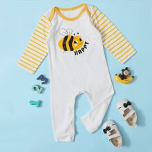 Baby Girl Bee And Letter Graphic Striped Jumpsuit