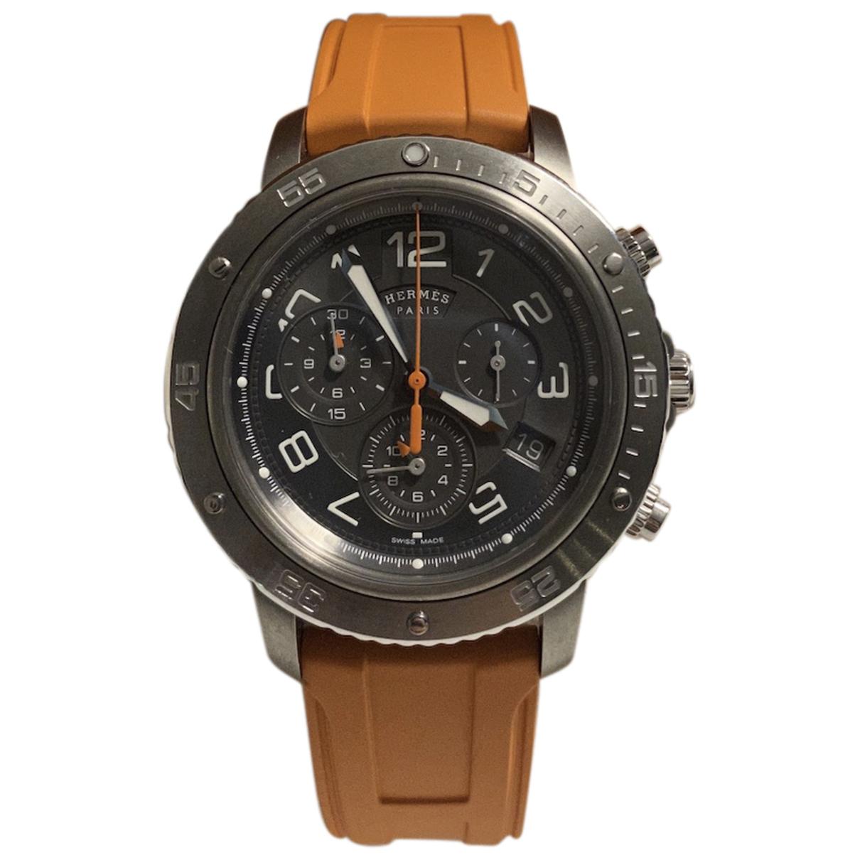 Hermes Clipper Chronographe Uhr in  Anthrazit Stahl