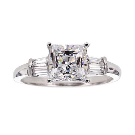 DiamonArt Cubic Zirconia Sterling Silver 3-Stone Ring, 5 , No Color Family
