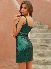 DKRX Slit Hem Sequin Cami Dress