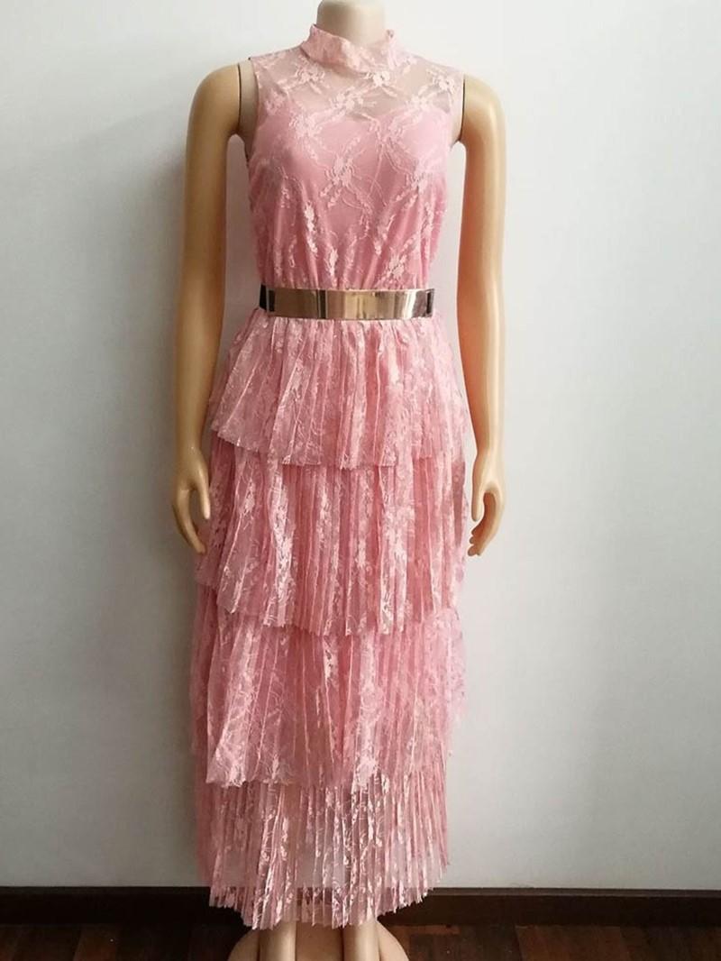 Ericdress Sleeveless See-Through Sweet Layered Dress(Without Waistband)