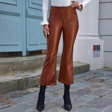 Pocket Front Flare Leg PU Leather Pants