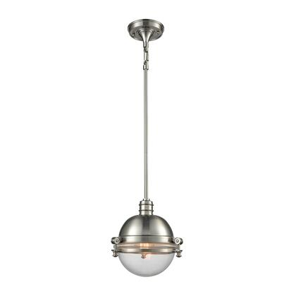 16060/1 Riley 1 Light Pendant in Satin Nickel with Clear