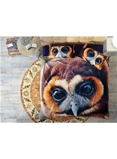 Brown Lovely Owl Wear-resistant Breathable High Quality 60s Cotton 4-Piece 3D Bedding Sets