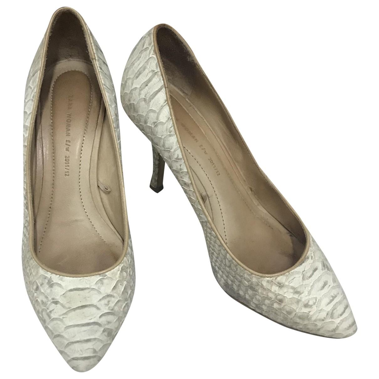 Zara - Escarpins   pour femme en cuir - gris