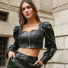 Tie Back Zippered PU Leather Top