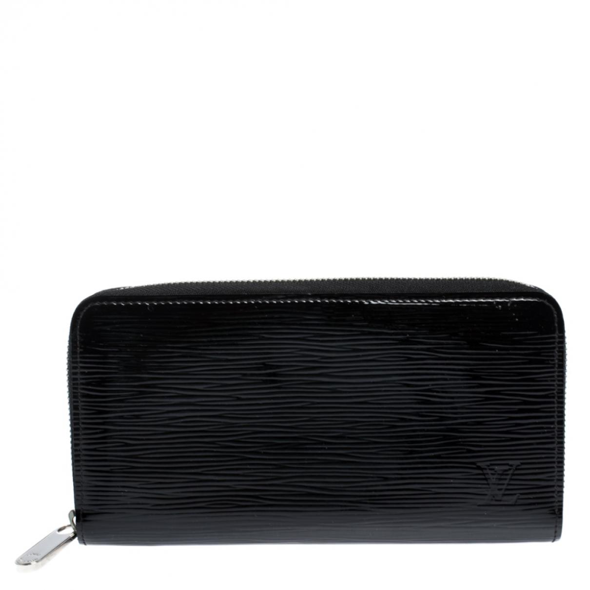 Louis Vuitton - Portefeuille Zippy pour femme en cuir verni - noir