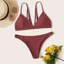 Einfarbiger Bikini Set