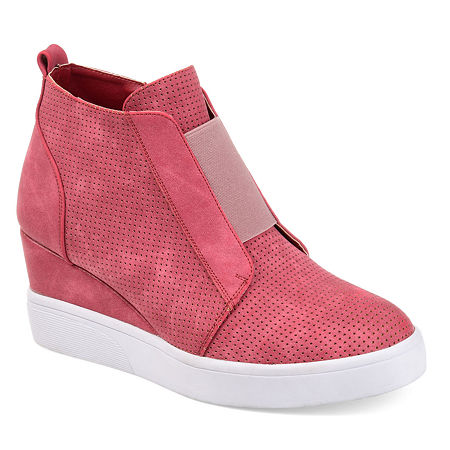 Journee Collection Womens Clara Wedge Sneaker, 5 1/2 Medium, Pink