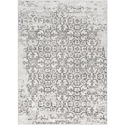 Monte Carlo MNC-2306 53 Round Traditional Rug in Charcoal  Light Gray