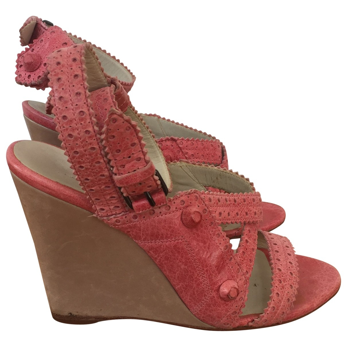 Balenciaga \N Pink Leather Sandals for Women 37 EU
