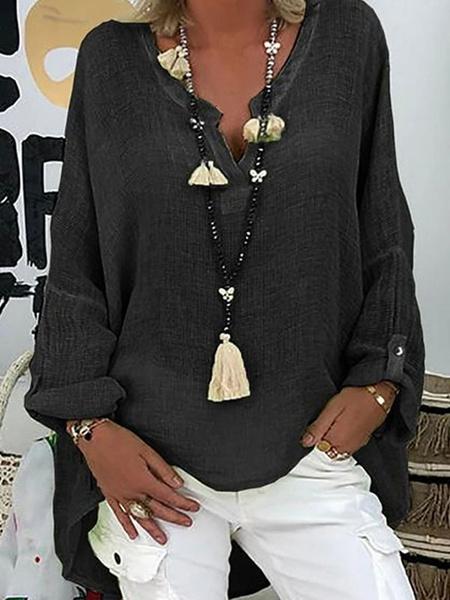 Milanoo Long Sleeves Tees Light Green V-Neck Women Tops