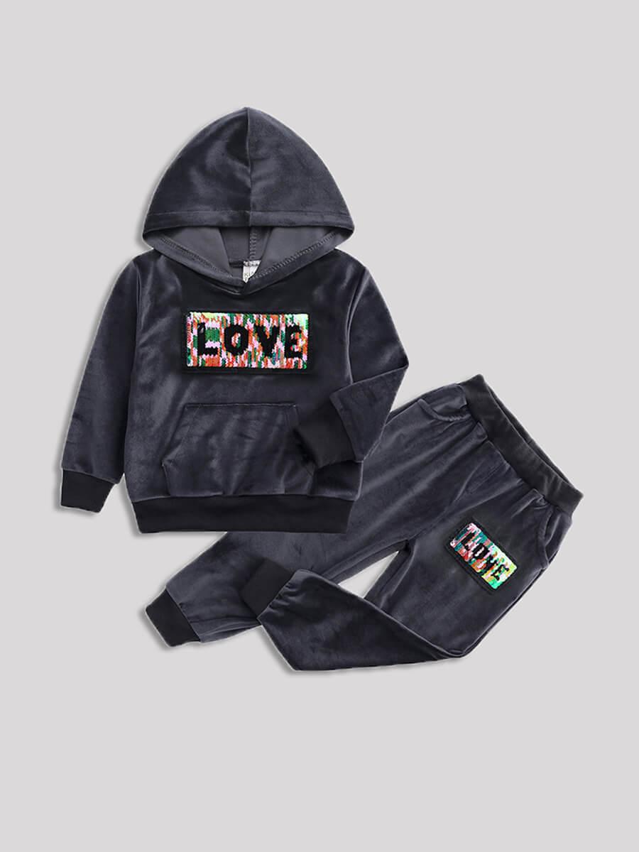 LW Lovely Sportswear Hooded Collar Letter Print Dark Grey Girl Two-piece Pants Set
