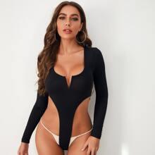 Body mit eingekerbtem Kragen und hohem Ausschnitt