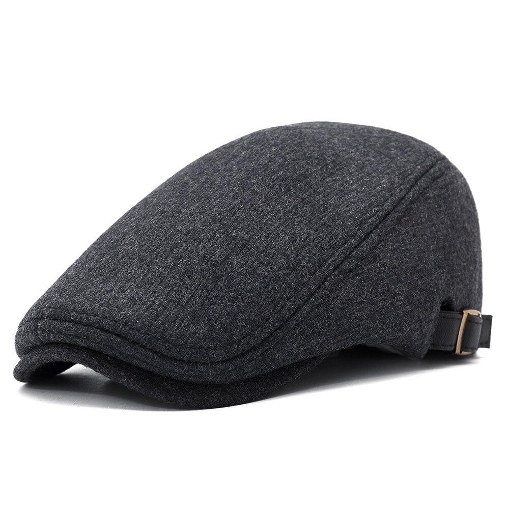 Mens Winter Thicken Warm Woolen Beret Flat Cap Adjustable Casual Solid Black Grey Forward Hats