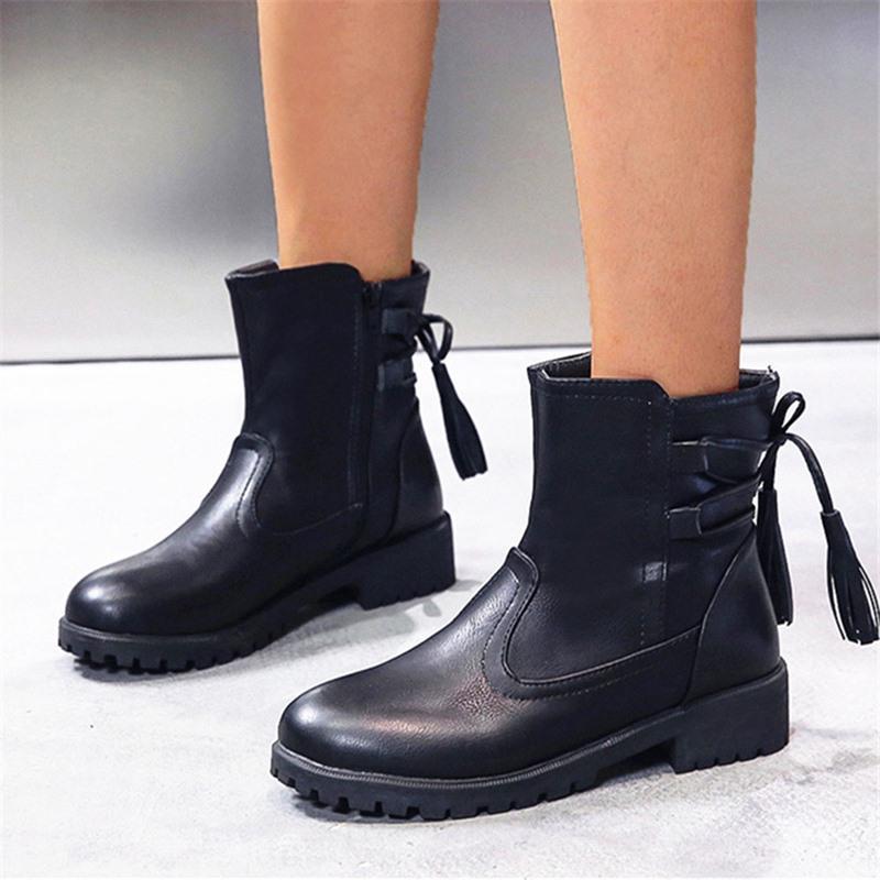 Ericdress Block Heel Plain Round Toe Western Boots