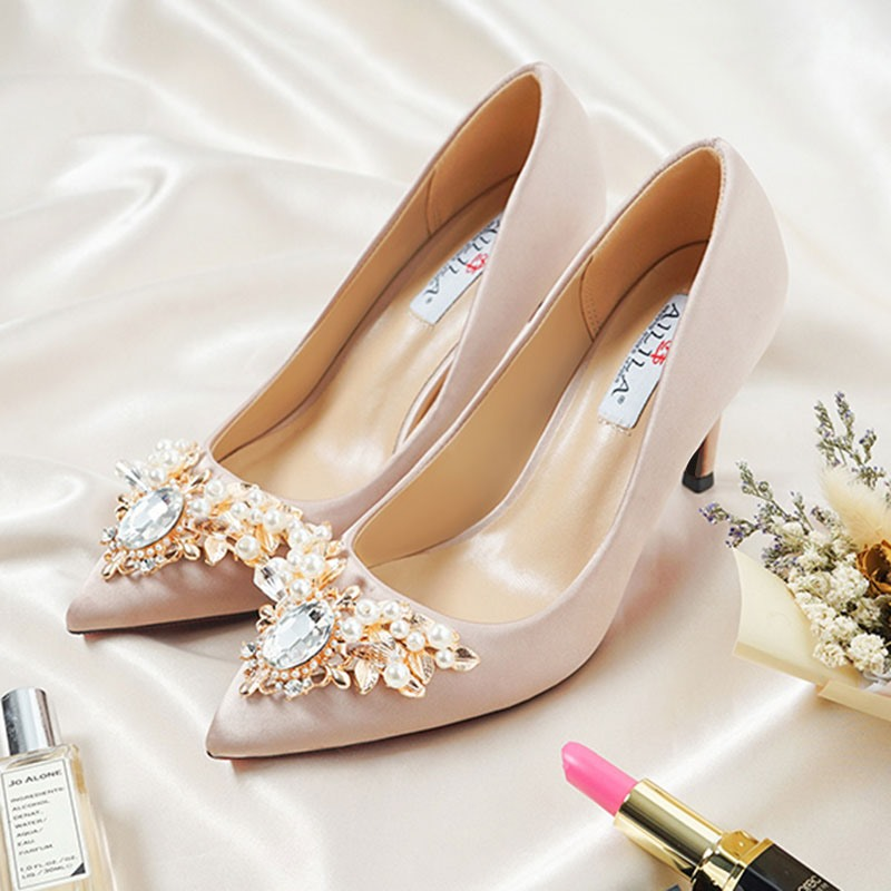 Ericdress Silk Fabric Rhinestone Pointed Toe Stiletto Heel Wedding Shoes
