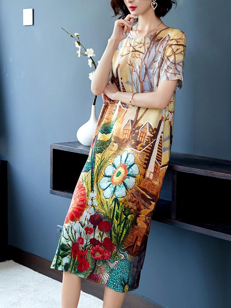 Elegant Floral Print Short Sleeve Vintage Dress