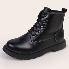 Seam Lace-up Combat Boots