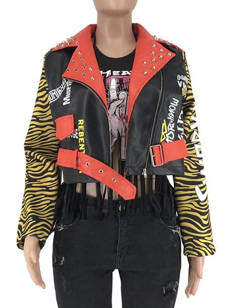Milanoo Women Short Jacket Black Turndown Collar Long Sleeve Rivets Animal Print Motorcycle Jackets
