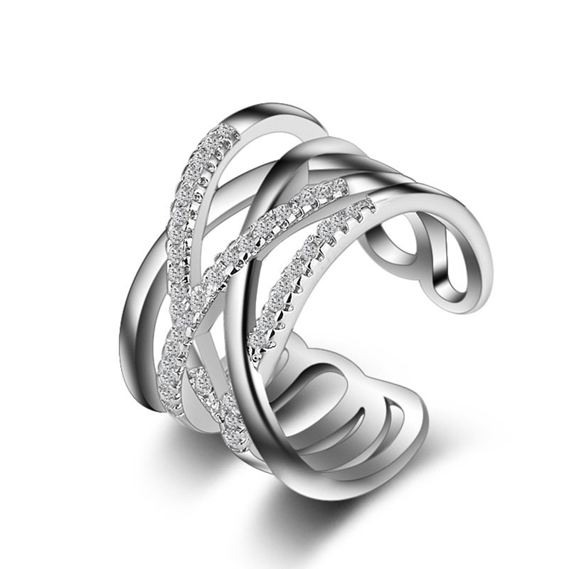 Stackable Twining Clear CZ Ring Dazzling Zirconia Engagement Rings for Women Jewelry Gift
