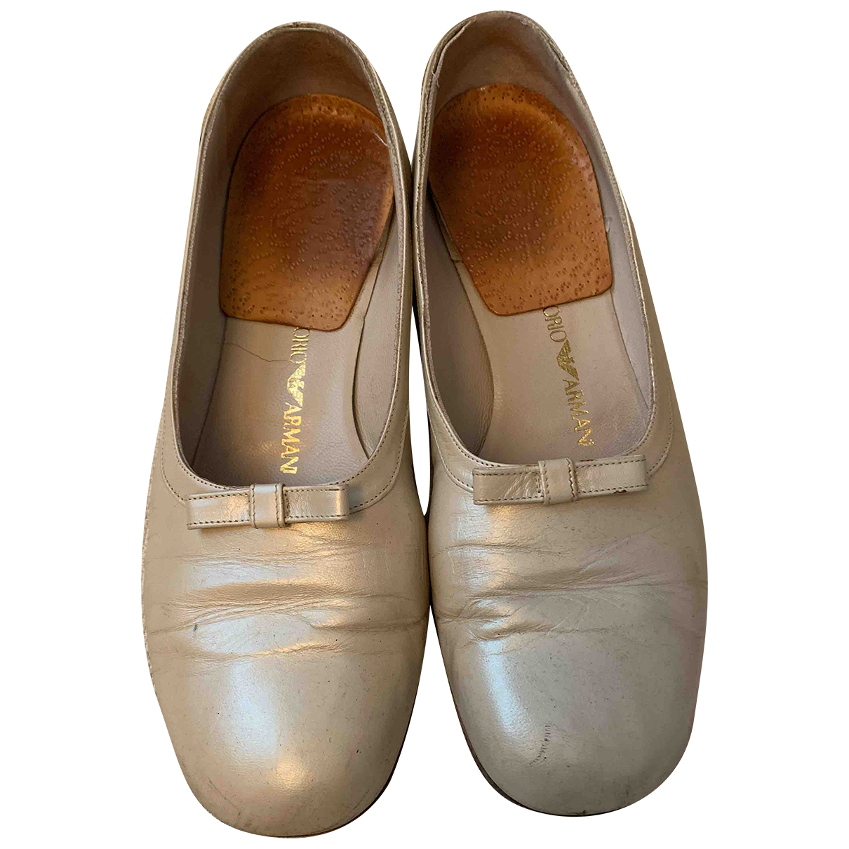 Emporio Armani N Beige Leather Sandals for Women 38 EU