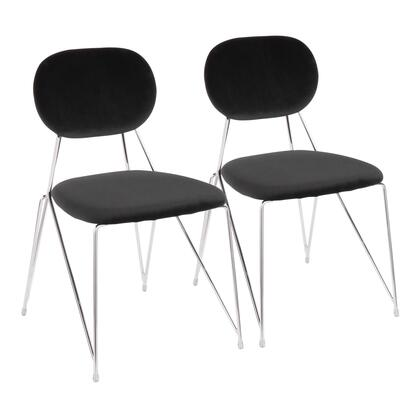 Gwen Collection CH-GWENBK2 Set of 2 Chair with Velvet Fabric Upholstery  Contemporary Style and Metal Frame in Black