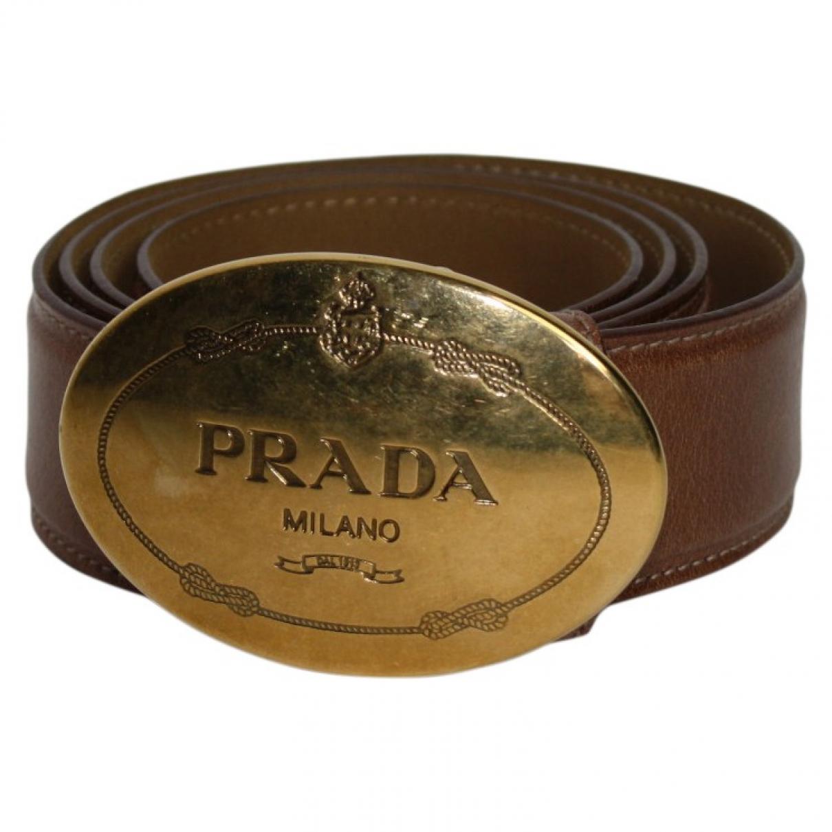 Prada \N Brown Leather belt for Women 85 cm