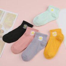 5pairs Floral Socks
