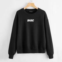 Pullover mit Buchstaben Grafik und sehr tief angesetzter Schulterpartie