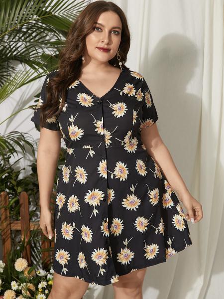 Yoins Plus Size V-neck Floral Print Button Design Short Sleeves Dress